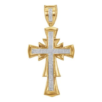 10kt Yellow Gold Mens Round Diamond Scalloped Cross Charm Pendant 3/4 Cttw