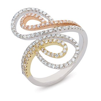 Tri Color Diamond Pave Ring