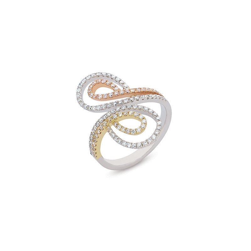 S. Kashi  & Sons Tri Color Diamond Pave Ring
