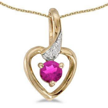 14k Yellow Gold Round Pink Topaz And Diamond Heart Pendant