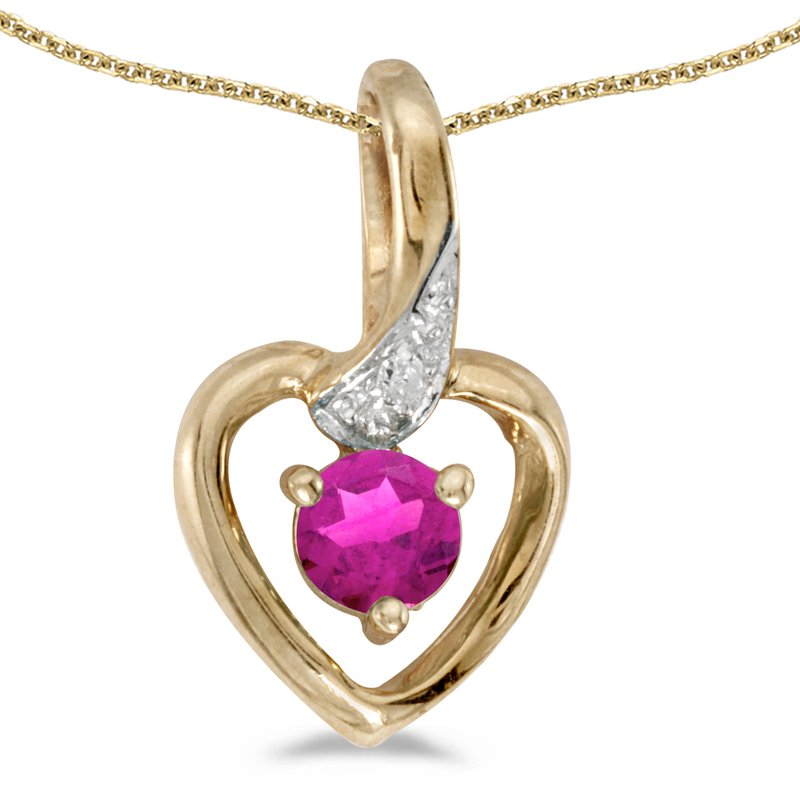 Color Merchants 14k Yellow Gold Round Pink Topaz And Diamond Heart Pendant
