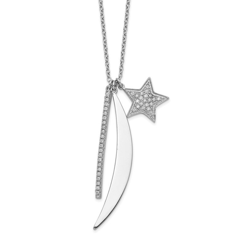 Quality Gold Sterling Silver Rhodium-plated CZ Bar, Star & Moon Necklace