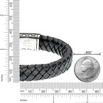 Lynx Black Thick Braided Genuine Leather Bracelet - 14 MM Width, 8.5 Inches Length - Magnetic Clasp
