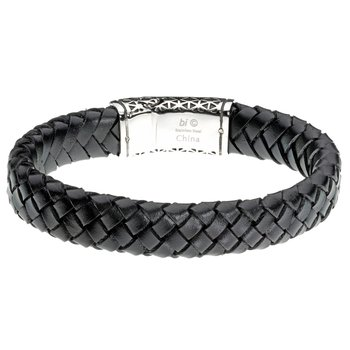 Black Thick Braided Genuine Leather Bracelet - 14 MM Width, 8.5 Inches Length - Magnetic Clasp
