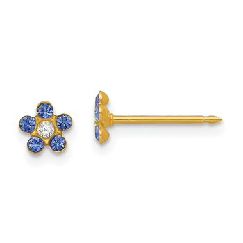 Inverness 14k September Blue Crystal Birthstone Flower Earrings