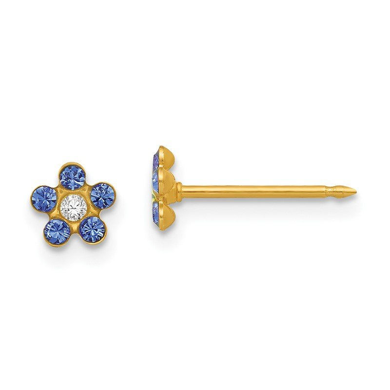 Quality Gold Inverness 14k September Blue Crystal Birthstone Flower Earrings