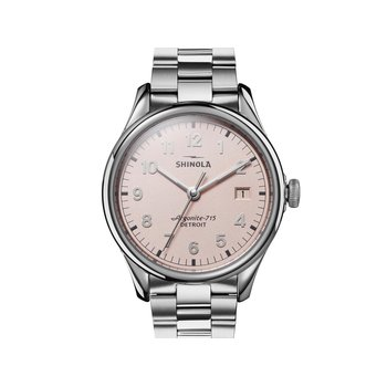 The Vinton 38mm Stainless Pink Dial Bracelet Watch