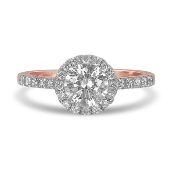14K RG Diamond Engagement Ring with Round Halo in Prong Setting