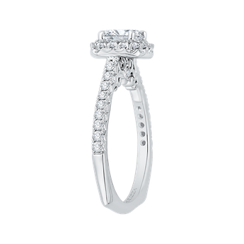 18K White Gold Princess Cut Diamond Halo Engagement Ring (Semi-Mount)