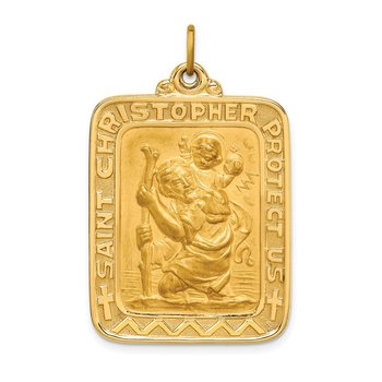 14k Solid Polished/Satin Large Rectangle St. Christopher Medal