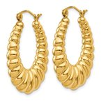 Quality Gold 14k Polished Scalloped Hoop Earrings