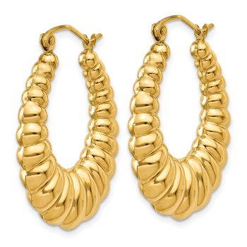 14k Polished Scalloped Hoop Earrings