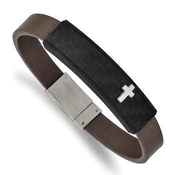 Stainless Steel Polished Solid Carbon Fiber Brown Faux Leather 8in Bracelet