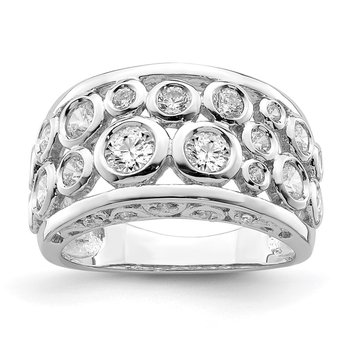 Sterling Silver Rhodium-plated Bezel-set Fancy CZ Ring