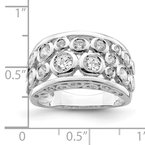 Quality Gold Sterling Silver Rhodium-plated Bezel-set Fancy CZ Ring
