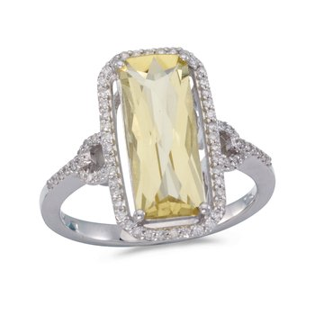 14k White Gold Octagon Lemon Quartz And Diamond Ring