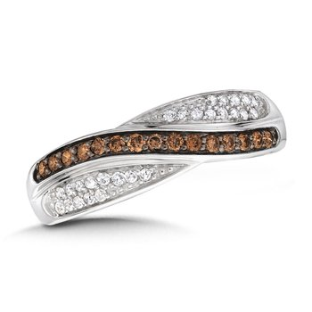 Pave set Cognac and White Diamond Bypass Fashion Ring in 14k White Gold, (1/3 ct.tw.)