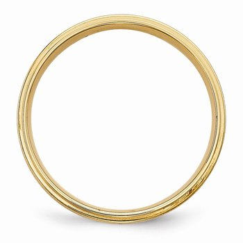 14k Yellow Gold Heavy Comfort Fit Brush Satin Fancy Band