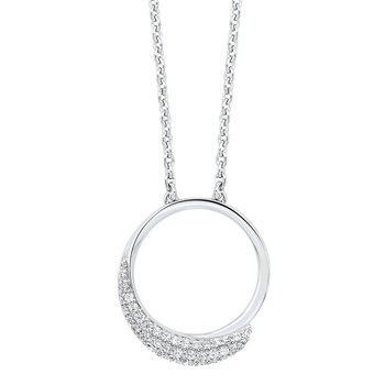 CZ Pave Eternity Circle Pendant Necklace in Sterling Silver