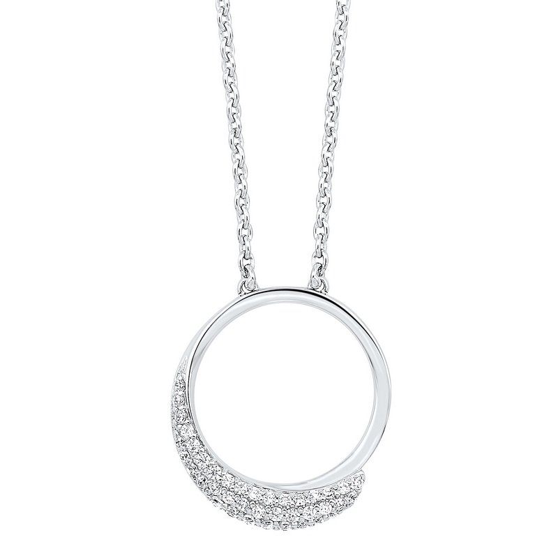 Gems One Diamond Pave Eternity Circle Pendant Necklace in Sterling Silver