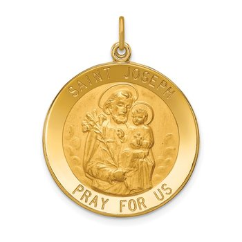 14k Solid Polished/Satin Large Round St. Joseph Medal