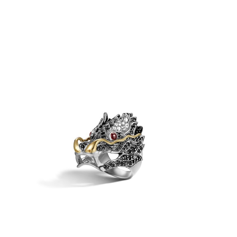 JOHN HARDY Legends Naga Head Ring in Silver and 18K Gold with Gemstone