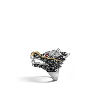 Legends Naga Head Ring in Silver and 18K Gold with Gemstone