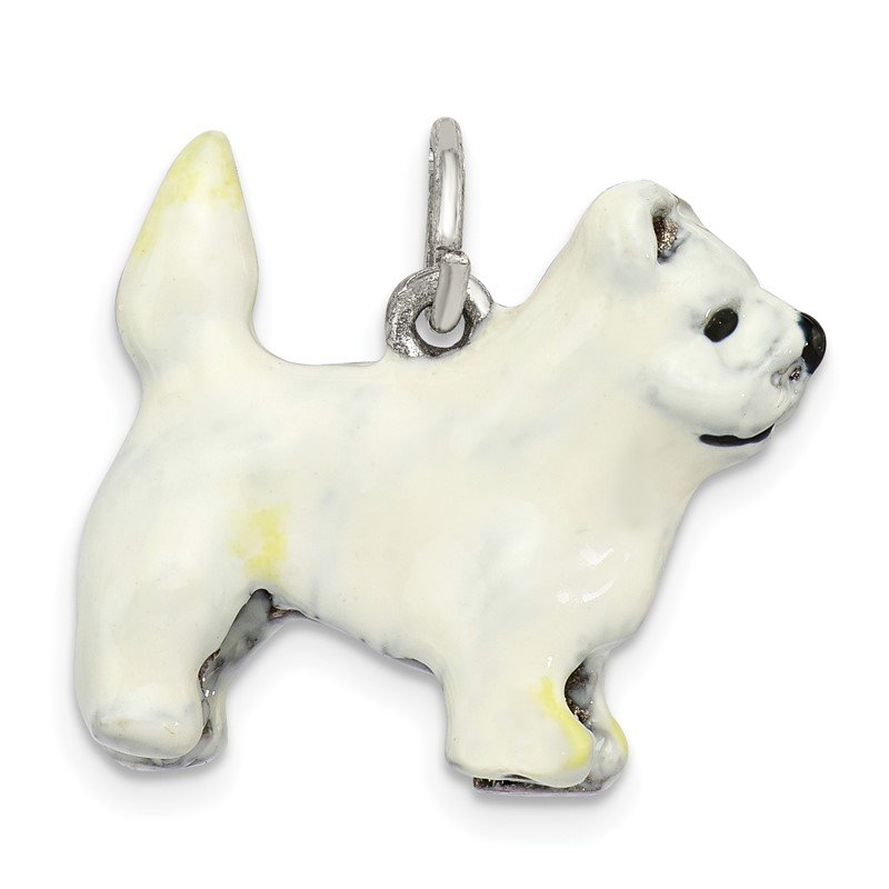 Quality Gold Sterling Silver Enameled West Highland Terrier Charm