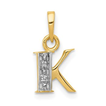 14KY with Rhodium Diamond Letter K Initial Pendant