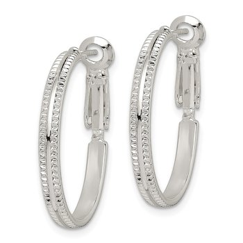 Sterling Silver Milgrain 2.25x25mm Omega Back Hoop Earrings