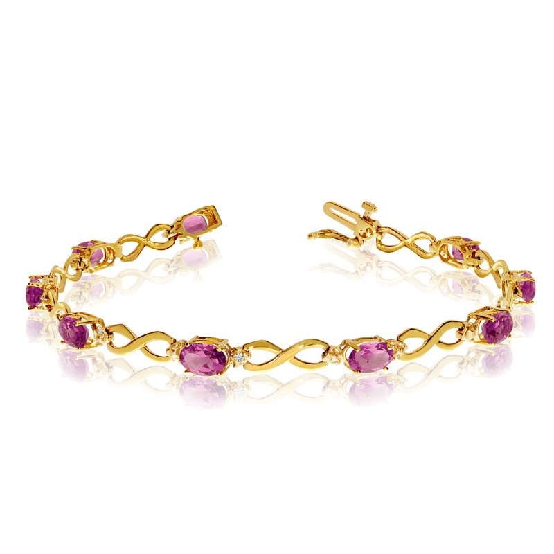 Color Merchants 14K Yellow Gold Oval Pink Topaz and Diamond Bracelet