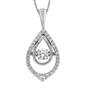 Dancing Diamond Tear-Shaped Pendant in 14K White Gold with Chain