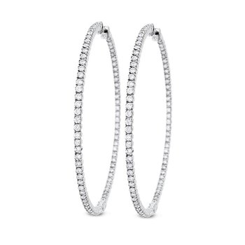 Diamond Inside Outside Hoop Earrings in 14k White Gold with 154 Diamonds weighing 3.10ct tw.