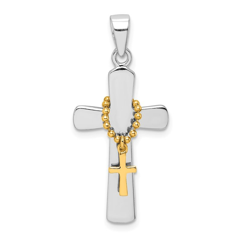 Quality Gold Sterling Silver Rhodium-plated Polished Gold Tone Double Cross Pendant