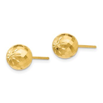 14k 8mm Diamond-cut Mirror Ball Post Earrings
