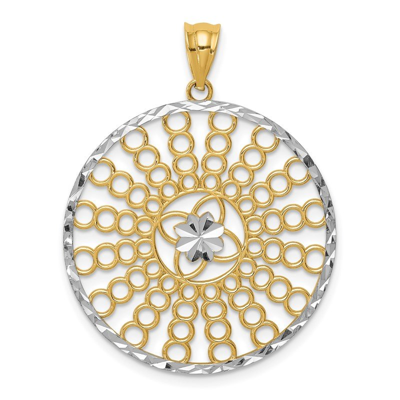 Quality Gold 14K and White Rhodium Polished and Diamond-cut Pendant