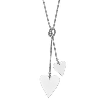 Sterling Silver Heart Cable Wrap Necklace