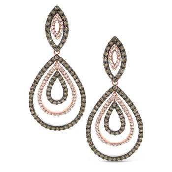Champagne and White Diamond Teardrop Earring in 14K Rose Gold with 258 Diamonds Weighing  1.53ct tw