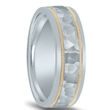 Colors Collection Hammered Two-tone Wedding Band NT01082