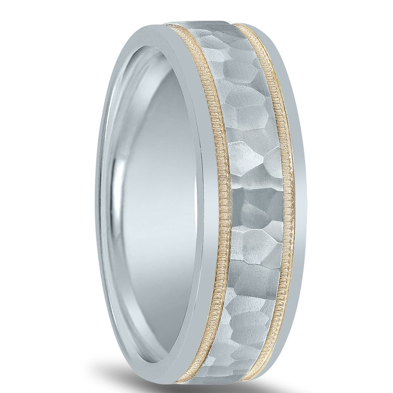 Novell Colors Collection Hammered Two-tone Wedding Band NT01082