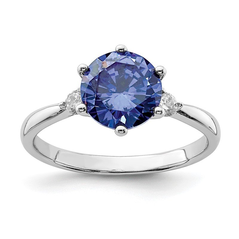 Quality Gold Sterling Silver Rhod-plated Blue and White CZ Ring