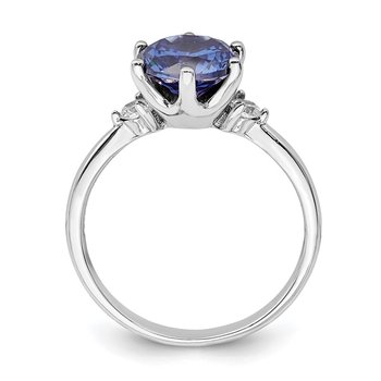 Sterling Silver Rhod-plated Blue and White CZ Ring