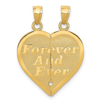 14k Reversible FOREVER AND EVER Break-apart Heart Pendant