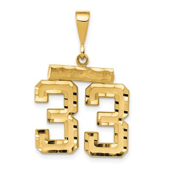 14k Medium Diamond-cut Number 33 Charm