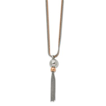 Stainless Steel Polished Rose IP-plated 2-Strand 18.5 inch Tassel Necklace