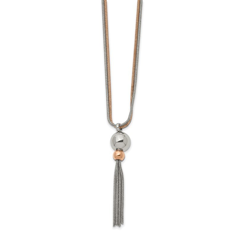 Chisel Stainless Steel Polished Rose IP-plated 2-Strand 18.5 inch Tassel Necklace