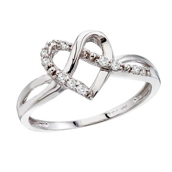 14K White Gold .10 Ct Diamond Heart Ring