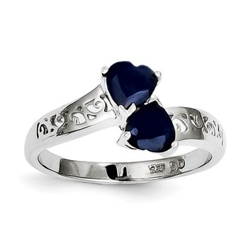 Sterling Silver Rhodium-plated Dark Sapphire Heart Ring
