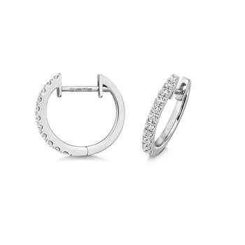 Diamond Hoop Earrings 14mm