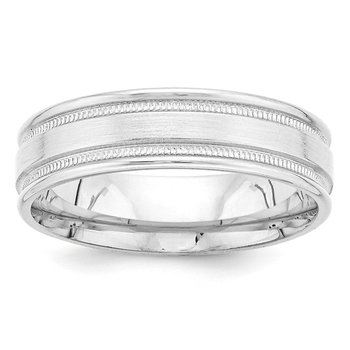 14k White Gold Heavy Comfort Fit Brush Satin Fancy Band